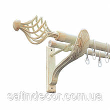 Карниз для штор металевий АРЕЗО подвійний 25+19мм РЕТРО 2.4м Біле золото