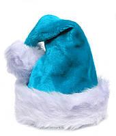Шапка новогодняя Деда Мороза меховая, голубая