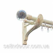 Карниз для штор металевий ЛЮМІЄРА подвійний 25+19мм РЕТРО 2.4 м Біле золото
