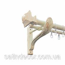 Карниз для штор металевий БОРДЖЕЗА подвійний 25+19мм РЕТРО 2.4м Біле золото