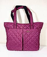 Вместительная стёганая сумка-шопер бордовая