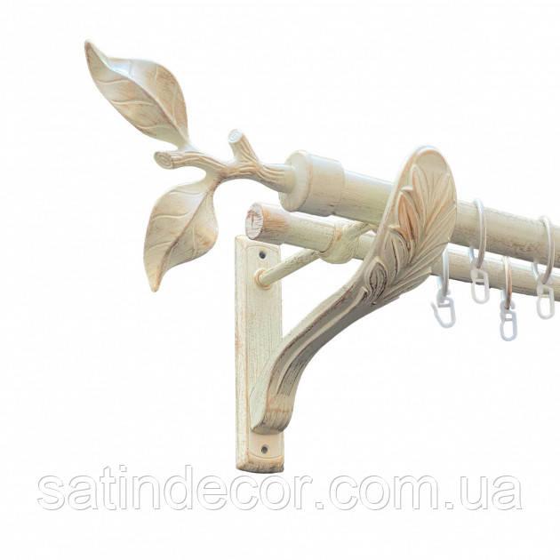 Карниз для штор металевий ЛИСТ ТРОЯНДИ подвійний 25+19мм РЕТРО 1.6 м Біле золото