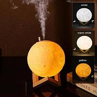 Настольный светильник ночник луна 3D 13 см с увлажнителем воздуха