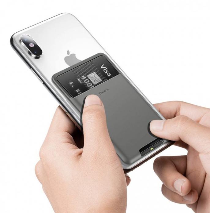 Чехол-держатель для карт на смартфон Baseus Back Stick Silicone Темно-серый (ACKD-A0G)