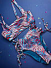 Купальник с Топом Victoria's Secret р. 32D (70D) / Плавки с высокой талией р. S, Синий, фото 4
