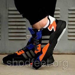 Мужские кроссовки Adidas Nite Jogger Boost Black Blue Orange