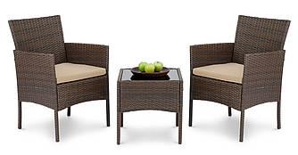 Набор садовой мебели из ротанга SIENA DV-011GF коричневый 2 кресла + стол для улицы и помещений