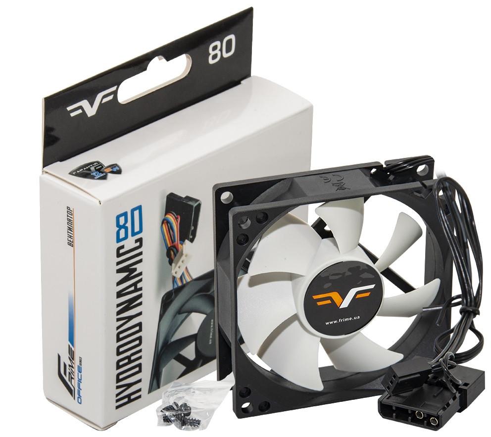 Вентилятор Frime (FWF80HB3) 80х80х25мм, 3-pin+Molex, Black/White
