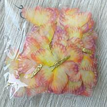 Бабочки из шифона. Желтая с глиттерной серединкой 6 на 4 см
