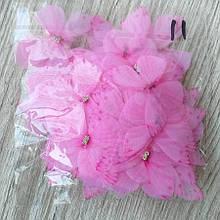 Бабочки из шифона. Розовая 4 на 4.5 см