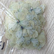 Бабочки из шифона. Светло лимонная 4 на 4.5 см
