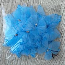 Бабочки из шифона. Голубая 4 на 4.5 см