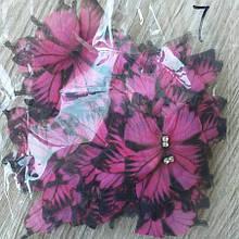 Бабочки из шифона. Большая розовая с черными  острыми кончиками..