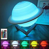 Настольный светильник ночник Сатурн 3D 13 см с пультом