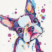 """Картина по номерам, рисование по номерам собаки """"Забавный малыш"""" KHO4016, 40х40 см"""