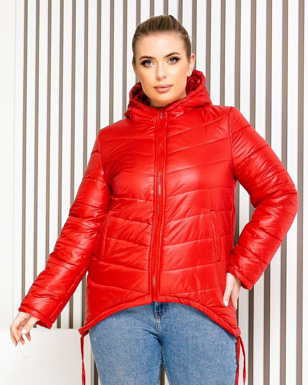 Куртка-парку жіноча, БАТАЛ, колір червоний, арт. 210