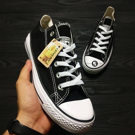 Женские кеды в стиле Converse Chuck Taylor All Star Low Black\White Черно-белые, фото 2