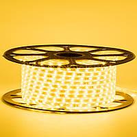 Стрічка світлодіодна жовта 220V smd2835 48лед 6Вт герметична 1м, фото 1