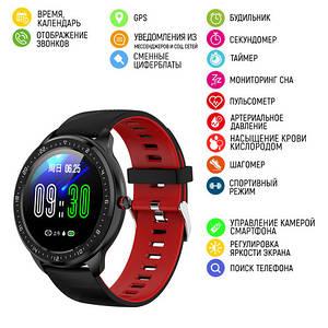 Розумні смарт годинник Modfit Z06 Black-Red / Сенсорні наручний годинник .Електронні наручні годинники