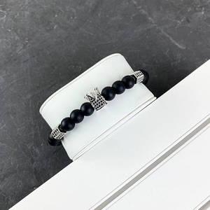 2B Rich Bracelet King 8 mm, 19 cm Black-Silver