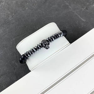 2B Rich Bracelet Skull 8 mm, 19 cm Black-Silver