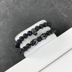 2B Rich Bracelet Skull 8 mm, 19 cm All Black
