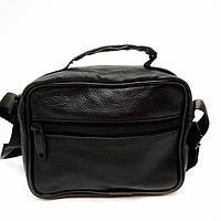 Чоловіча сумка через плече натуральна шкіра чорна Арт.H-0318 (Китай)