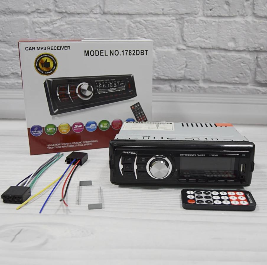Автомагнітола 1DIN MP3 1782DBT Знімна панель (1USB, 2USB-зарядка, TF card, bluetooth)