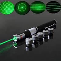 Зелена лазерна указка + 5 насадок Зоряне небо, фото 1