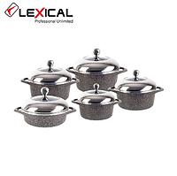 Набор кастрюль LEXICAL LG-141001-2 гранитное покрытие, 5 кастрюль с крышками 20/24/28/28/32 см