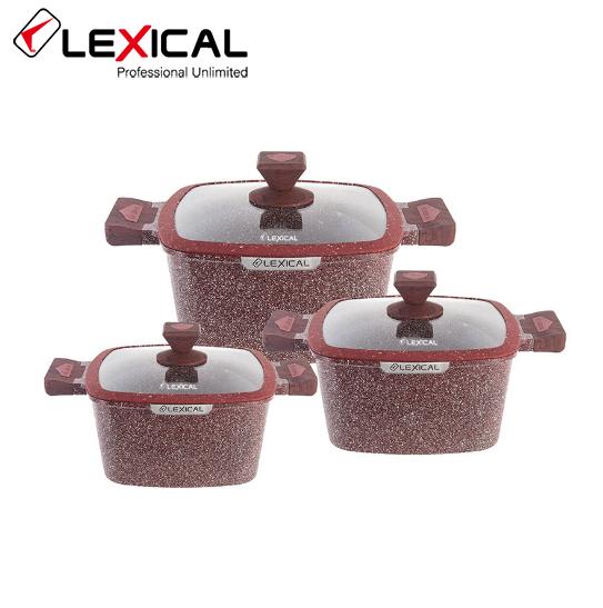 Набор кастрюль 20/24/28см LEXICAL LG-440601-4, антипригарное гранитное покрытие, 6 предметов,Red
