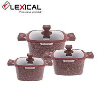 Набор кастрюль 20/24/28см LEXICAL LG-440601-4, антипригарное гранитное покрытие, 6 предметов,Red, фото 1
