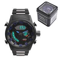 Часы наручные QUAMER 1512-Box, браслет под карбон, dual time с подарочной коробкой
