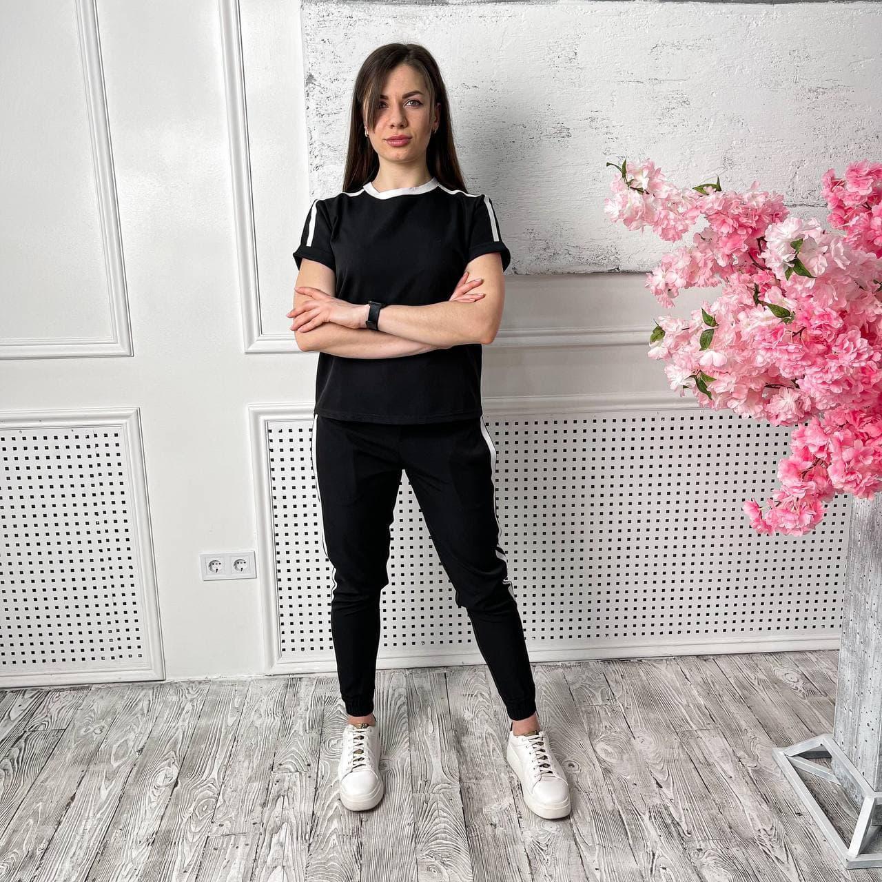 Спортивный костюм женский с лампасами черный   Комплект штаны + футболка ЛЮКС качества