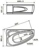 Правосторонняя гидромассажная ванна Rialto Como Hydro 170x100, 1700х1000х575 мм, фото 2
