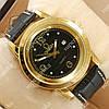 Стильные наручные часы Omega Quartz crystal Gold/Black 1853