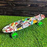 Скейтборд пенни борд со светящимися колесами с рисунком пенни борд пенні борд пенниборд пениборд зеленый