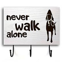 """Дерев'яна вхідна вішалка-табличка """"Never Walk"""" 20х30"""