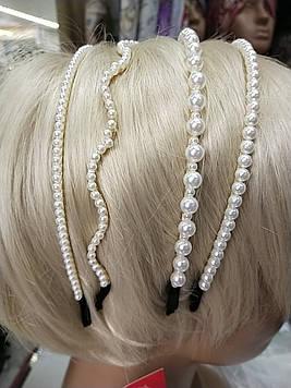 Красивый тонкий обруч 1 шт для волос металлический с жемчужинами украшенный белым жемчугом