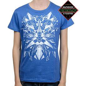 Подростковая футболка Волк, рисунок светится в темноте, синяя меланж (размер 38-44)
