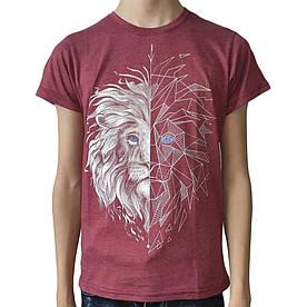 Подростковая футболка Лев, рисунок светится в темноте, бордовая меланж (размер 38-44)