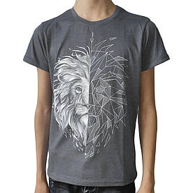 Подростковая футболка Лев, рисунок светится в темноте, серая (размер 38-44)