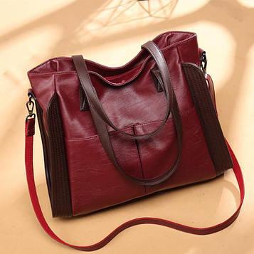 Женская вместительная бордовая сумка код 3-101