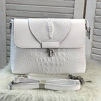 Женская кожаная сумка на плечо кроссбоди Клатч женский кожаный белый