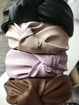 Кожаный экокожа обруч  чалма для волос объемный  модный 1 шт