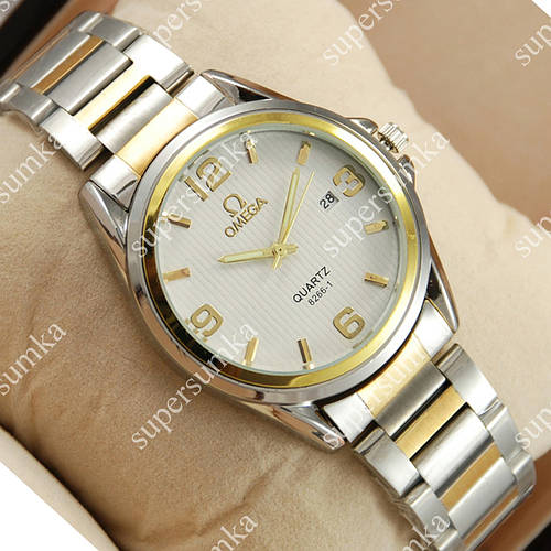 Наручные часы Omega quartz 8266-1 Silver-gold/White 1867
