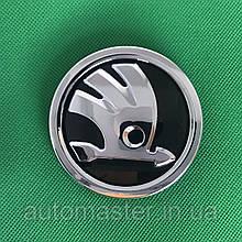 Эмблема Skoda/Шкода на капот/багажник 80 мм, черная, 5JD 853 621A