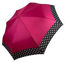 Жіночий парасольку-напівавтомат на 8 спиць з малюнком гороху, від SL, рожевий, 7009-1