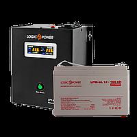 Комплект резервного питания для котла и теплого пола Logicpower W800 + гелевая батарея 100 Ah