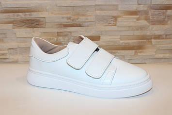 Туфли белые женские на липучках натуральная кожа Т1295
